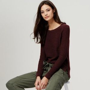 Ann Taylor LOFT Marled Hi Low Fig Berry Sweater